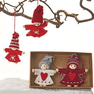 Karácsonyi lányok, szövet, karácsonyi dekoráció akasztóval, 7 cm, 4 db/doboz