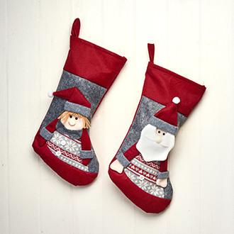Filc karácsonyi zokni, 2 féle, piros/szürke