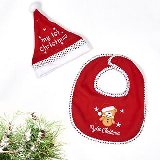 Az első karácsonyom, 2 részes szett előkével és mikulás sapkával babáknak