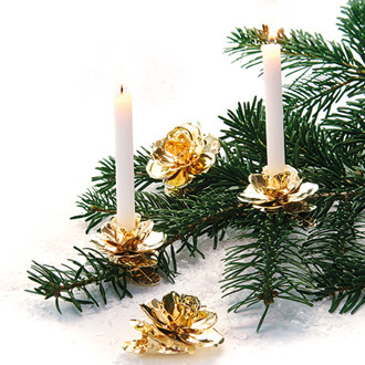 Fémből készült csipeszes karácsonyi gyertyatartó arany színben