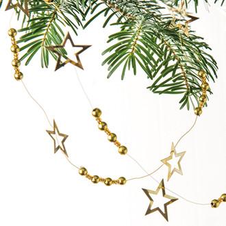 Arany csillagokkal és gyöngyökkel díszített füzér, 200 cm