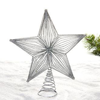 Csillag csúcsdísz, fém, ezüst glitterrel, 27 cm