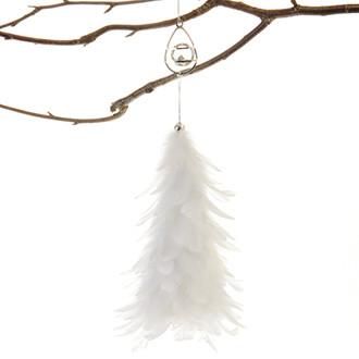 """""""Kristály"""" karácsonyfadísz fehér tollal, 40 cm"""