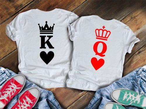 Páros póló K+Q koronával, szívvel