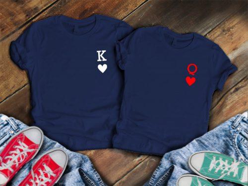Páros póló K és Q - fekete-fehér