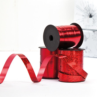 Ajándékcsomagoló szalag, 10mmx10m, 3 féle, piros