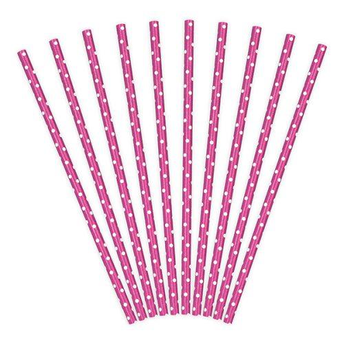 Szívószál papírból, pink pöttyös