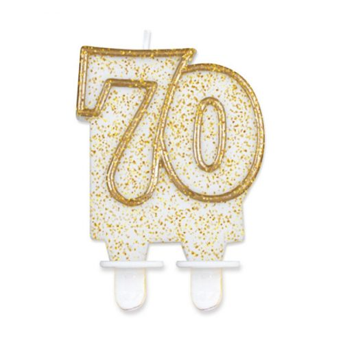 Tortagyertya, 70-es, fehér, arany szegéllyel