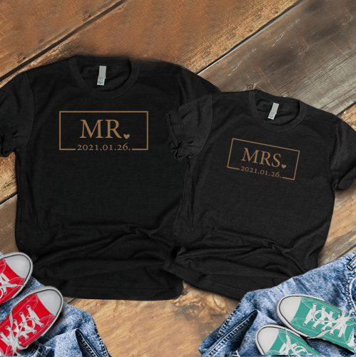 Páros póló Mr és Mrs keretes