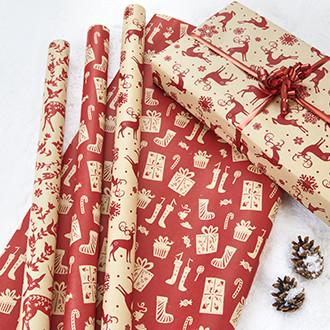 Csomagolópapír, 60gr., 70cmx5m, piros/arany, 2 féle