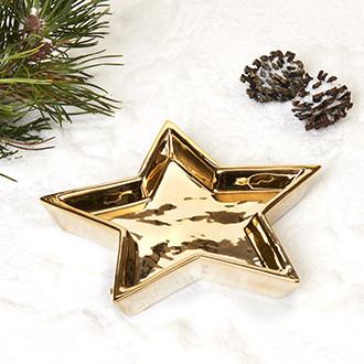 Arany, csillag alakú tálka, 3x19cm