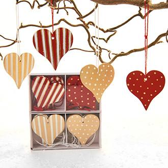 Fa szívek akasztóval, arany/piros, 4 féle, 12 db/doboz