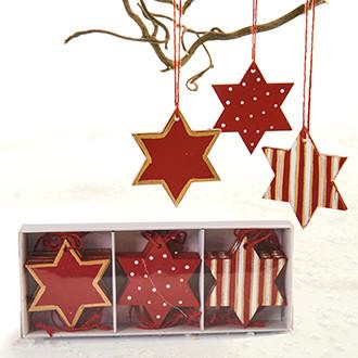 Fa csillagok akasztóval arany/fehér/piros, 3 féle, 12 db/doboz