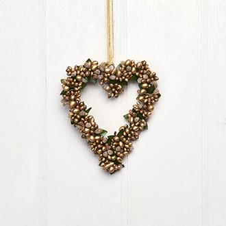 Szív alakú függő karácsonyi dekoráció, ajtódísz, arany bogyókkal, 14 cm
