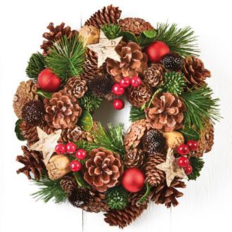 Karácsonyi ajtó koszorú, csilagokkal és bogyókkal, 26 cm