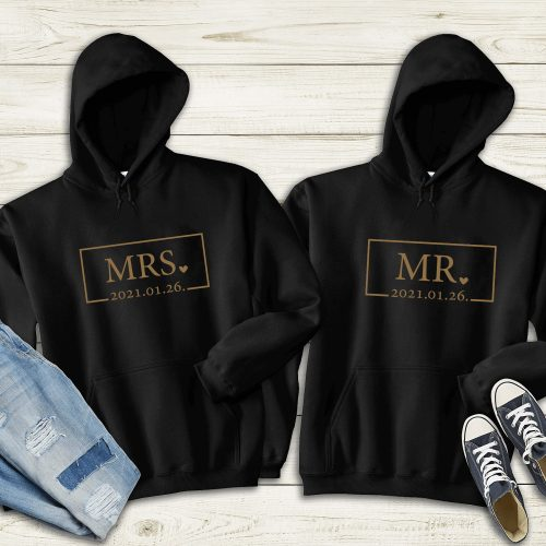 Páros pulóver Mr és Mrs keretes
