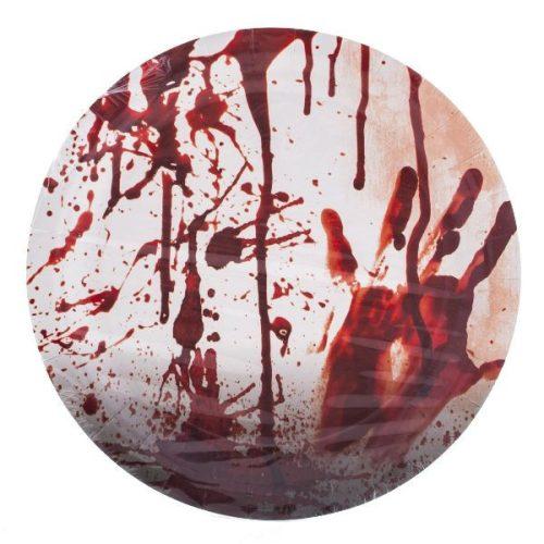 Halloween parti tányér, véres kéz, 23cm, 8 db/csomag