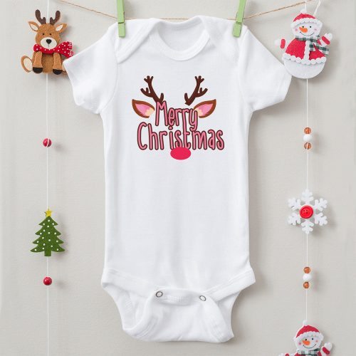 Merry Christmas rénszarvasos karácsonyi body