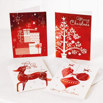 Dupla karácsonyi kártya, piros/fehér, 15x11 cm, 2 féle mintával
