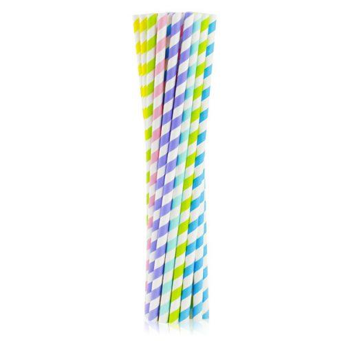 Szívószál papírból, vegyes színekben, 25 darab