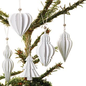 Fa karácsonyfadísz, csillogó fehér, 5 féle