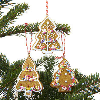 Mézeskalács karácsonyfa polyresinből, 7 cm, 3 féle