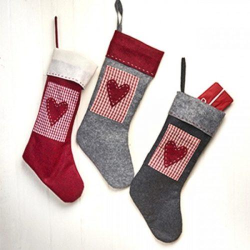 Karácsonyi zokni szív mintával, filc, piros/szürke/fekete, 45 cm