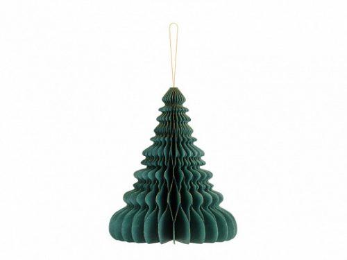 Méhsejt papír karácsonyfa, palackzöld, 24 cm