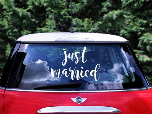 Esküvői autó matrica - Just married, 33x45cm