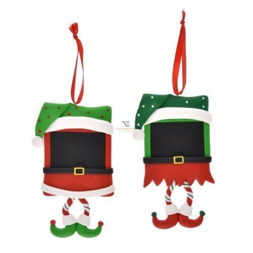 Üzenőtábla manós, akasztós agyag 8x1,2x12 zöld, piros 2 féle Karácsonyi manó