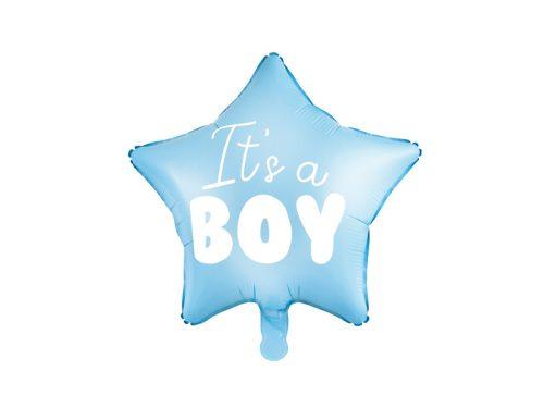 Fólia léggömb, csillag alakú, It's a boy felirattal, 48cm, világoskék