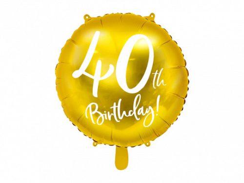 Fólia léggömb, 40th Birthday, arany, 45 cm