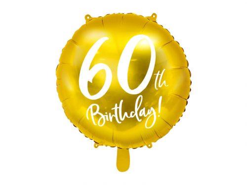 Fólia léggömb, 60th Birthday, arany, 45 cm