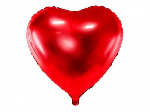 Fólia léggömb, szív, piros, 45 cm
