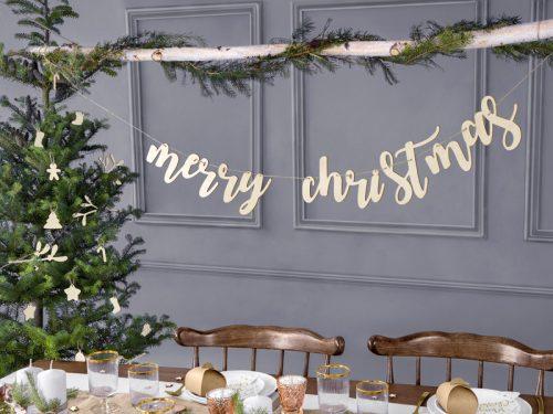 """Fa """"merry christmas"""" füzér, 87x17cm"""