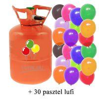 Hélium palack 30 léggömb felfújására, narancs színű palack, 30 pasztel lufival