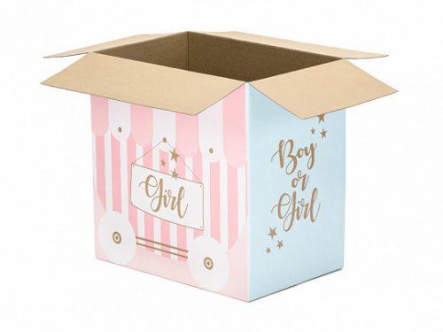 Kartondoboz lufi postához - Boy or Girl felirattal, 60x40x60cm