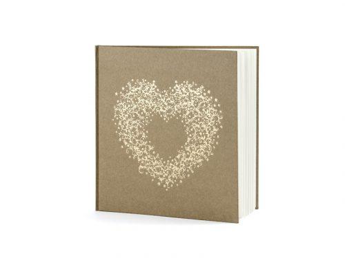 Vendégkönyv, natúr, 20,5 x 20,5 cm, 22 oldal