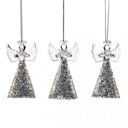Ezüst/átlátszó angyalka akasztóval, 3 féle, 8 cm