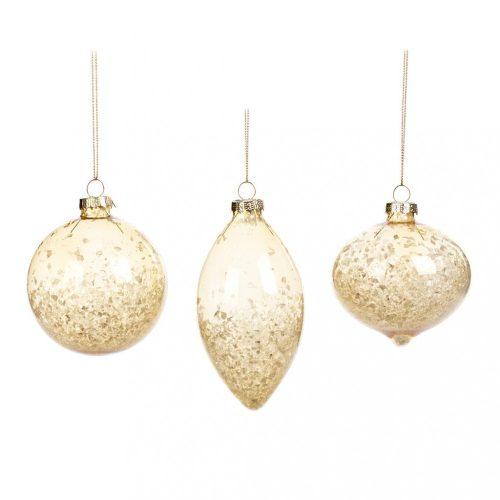 Jeges arany karácsonyfadísz, 3 féle, 8 cm
