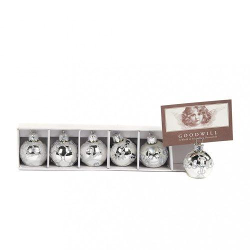 Ezüst gömb ültetőkártya tartó, glitteres mintával, átmérője 4 cm, 6 db/doboz