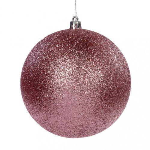Rózsaszín glitteres karácsony gömb, akasztóval, 10 cm