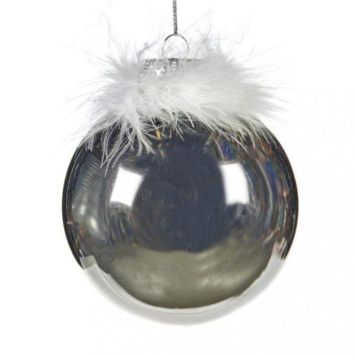 Ezüst színű gömb karácsonyfadísz, fehér tollal, 10 cm