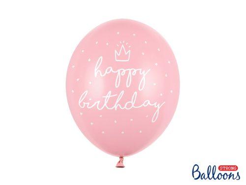 Erős léggömb, happy birthday felirattal, 30 cm - csomag