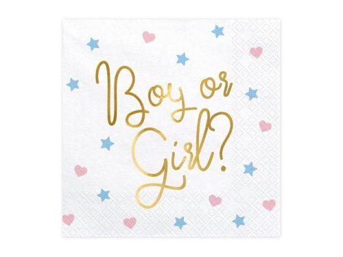 Szalvéta - Boy or Girl? felirattal, 33x33cm.