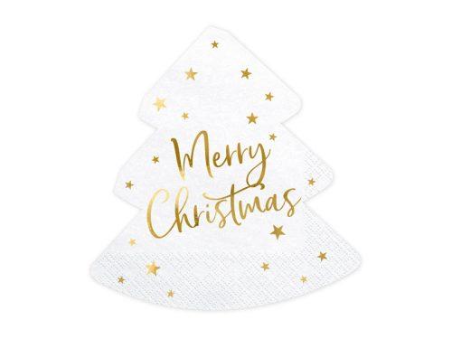 Karácsonyfa papírszalvéta Merry Christmas felirattal, 1 csomag/20 db