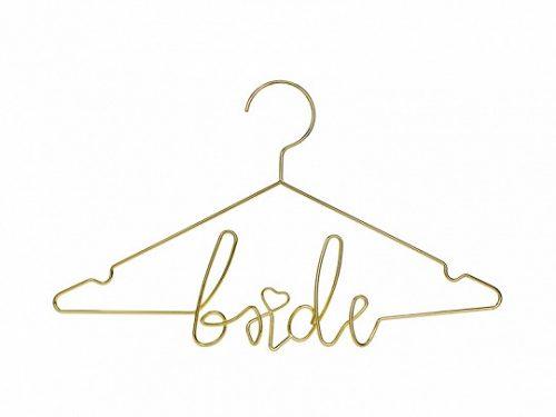 Menyasszonyi ruhafogas, arany metál, 45x27 cm