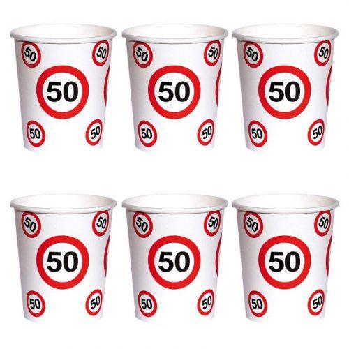50-es Sebességkorlátozó Számos Szülinapi Papír Parti Pohár - 250 ml, 6 db-os