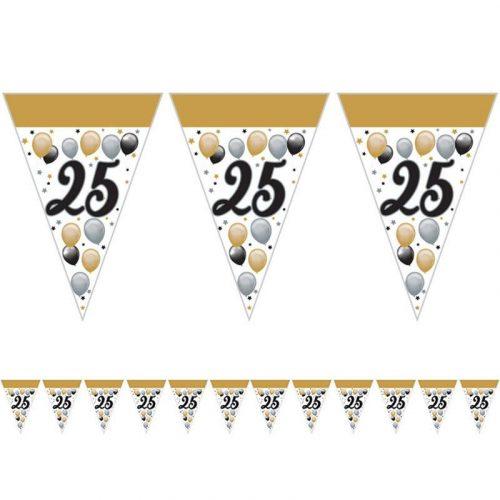 25-ös Számos Szülinapi Elegáns Léggömbös Parti Zászlófüzér - 5 m