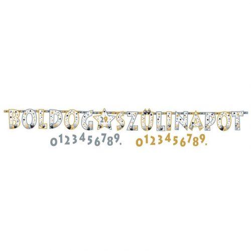 Boldog Szülinapot! Elegáns Léggömbös Számozható Betűfüzér - 2,4 m